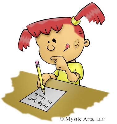 cartoon_picture_of_girl_writing